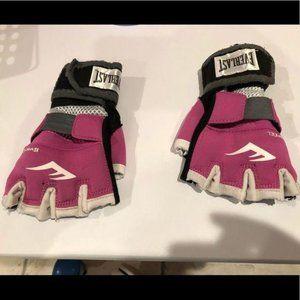 Everlast Fingerless Workout Gloves Pink Black Whit